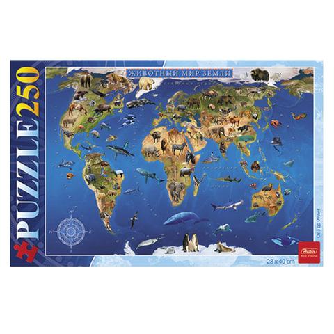 "Пазл STANDARD, 250 элементов, А3, ""Карта Животный мир"", 280х400 мм, 250ПЗ3 15482"