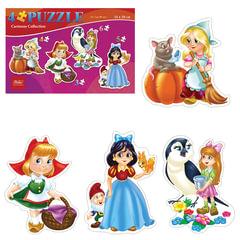 Пазл в наборе, 3-4-5-6 элементов, А5, 4 в 1, «Девочки из сказок», 200×140 мм, ПЗ5 11475