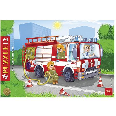 "Пазл в рамке, 12 элементов, А4, ""Пожарная машина"", 200х300 мм, 12ПЗ4 09342"