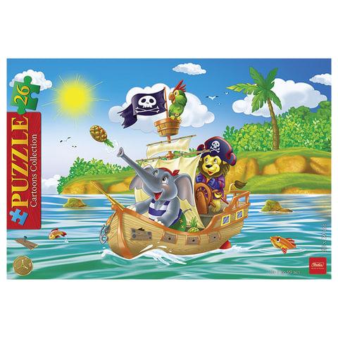 "Пазл в рамке, 26 элементов, А4, ""Забавные пираты"", 200х300 мм, 26ПЗ4 12192"