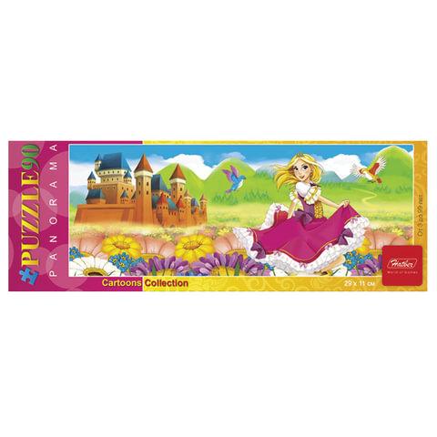 """Пазл-панорама, 90 элементов, А4, """"Милая принцесса"""", 290х110 мм, 90ПЗ4 09190"""