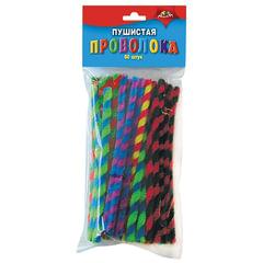 Проволока синельная для творчества «Пушистая», спираль двухцветная, 50 штук, 15 см, ассорти