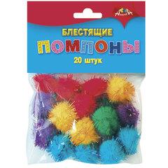 Материалы для творчества АППЛИКА «Пушистые помпоны», блестящие, 5 цветов, диаметр 20 мм, 20 шт.