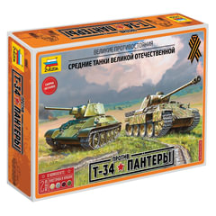 Модели для сборки ТАНКИ «Великие противостояния. Т-34 против Пантеры», набор 2 шт., 1:72, ЗВЕЗДА, 5202