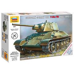 Модель для сборки ТАНК «Средний советский Т-34/<wbr/>76 образца 1943», масштаб 1:72, ЗВЕЗДА, 5001