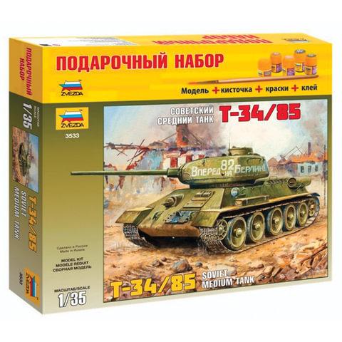 """Модель для склеивания набор ТАНК """"Средний советский Т-34/85 образца 1944"""", масштаб 1:35, ЗВЕЗДА, 3533П"""