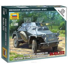 Модель для сборки АВТО «Бронеавтомобиль легкий немецкий Sd.Kfz.222», масштаб 1:100, ЗВЕЗДА, 6157
