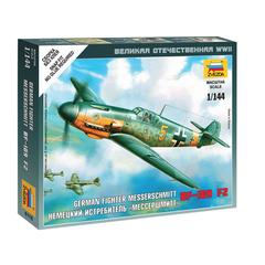 """Модель для сборки САМОЛЕТ «Истребитель немецкий BF-109 F2 """"Мессершмитт», масштаб 1:144, ЗВЕЗДА, 6116"""