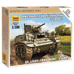 """Модель для сборки ТАНК «Легкий американский M3 »Стюарт"""", масштаб 1:100, ЗВЕЗДА, 6265"""