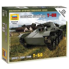 Модель для сборки ТАНК «Легкий советский Т-60», масштаб 1:100, ЗВЕЗДА, 6258