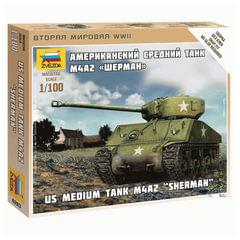 """Модель для сборки ТАНК «Средний американский M4 »Шерман"""", масштаб 1:100, ЗВЕЗДА, 6263"""