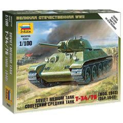 Модель для сборки ТАНК «Средний советский Т-34/<wbr/>76 образца 1940», масштаб 1:100, ЗВЕЗДА, 6101