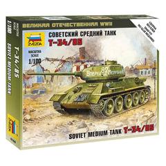 Модель для сборки ТАНК «Средний советский Т-34/<wbr/>85», масштаб 1:100, ЗВЕЗДА, 6160