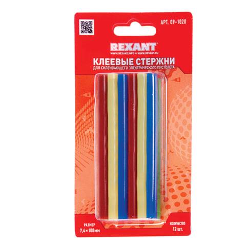 Клеевые стержни, диаметр 7 мм, цветные, REXANT, комплект 12 шт., длина 100 мм, в блистере, ассорти