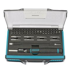 Отвертка для точных работ с набором бит и торцевых насадок, 48 предметов, GROSS, гибкий адаптер, пенал