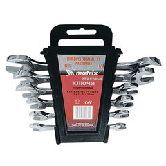 Набор ключей рожковых 6-17 мм, 6 шт., MATRIX, CrV, хромированные, держатель с подвесом