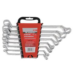 Набор ключей накидных 6-22 мм, 8 шт., MATRIX, CrV, хромированные, пластиковый держатель с подвесом