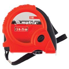 Рулетка измерительная 7,5 м х 25 мм, MATRIX «Rubber», обрезиненный корпус, 3 механизма фиксации