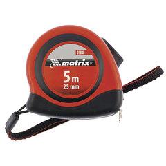 Рулетка измерительная 5,0 м х 25 мм, MATRIX «Status Autostop Magnet», магнитный зацеп, двухкомпонентный корпус