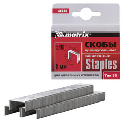 Скобы для мебельного степлера тип 53, 8 мм, MATRIX «MASTER», закаленные, количество 1000 шт., 41208