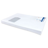 Конверт-пакет плоский, комплект 50 шт., 229×324 мм, отрывная полоса, белый, левое окно