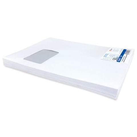 Конверт-пакет плоский, комплект 50 шт., 229х324 мм, отрывная полоса, белый, левое окно