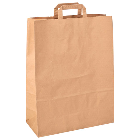 Пакет из крафт-бумаги, 240х140х290 мм, с плоской ручкой, 70 г/м2