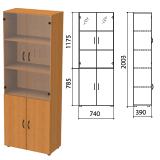 Шкаф закрытый со стеклом «Фея», 740×390×2000 мм, цвет орех милан (КОМПЛЕКТ)