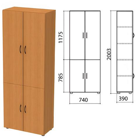 Шкаф закрытый «Фея», 740×390×2000 мм, цвет орех милан (КОМПЛЕКТ)