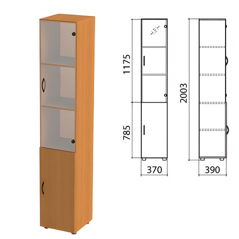 Шкаф закрытый со стеклом «Фея», 370×390×2000 мм, цвет орех милан (КОМПЛЕКТ)