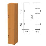 Шкаф закрытый «Фея», 370×390×2000 мм, цвет орех милан (КОМПЛЕКТ)