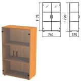 Шкаф закрытый со стеклом «Фея», 740×375×1220 мм, цвет орех милан (КОМПЛЕКТ)