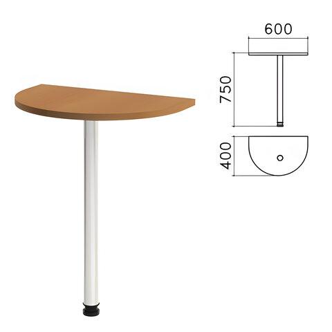 Стол приставной полукруг «Монолит», 600×400×750 мм, цвет орех гварнери (КОМПЛЕКТ)