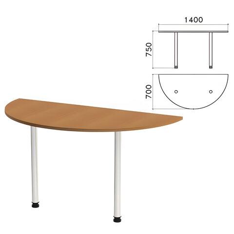 Стол приставной полукруг «Монолит», 1400×700×750 мм, цвет орех гварнери (КОМПЛЕКТ)