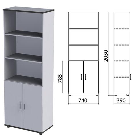 Шкаф полузакрытый «Монолит», 740×390×2050 мм, цвет серый (КОМПЛЕКТ)