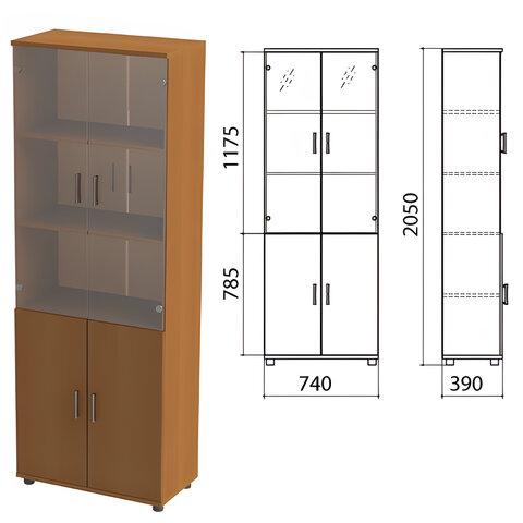 Шкаф закрытый со стеклом «Монолит», 740×390×2050 мм, цвет орех гварнери (КОМПЛЕКТ)