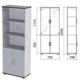 Шкаф закрытый со стеклом «Монолит», 740×390×2050 мм, цвет серый (КОМПЛЕКТ)