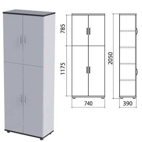 "Шкаф закрытый ""Монолит"", 740х390х2050 мм, цвет серый (КОМПЛЕКТ)"