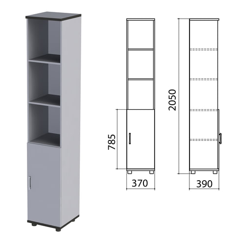 """Шкаф полузакрытый """"Монолит"""", 370х390х2050 мм, цвет серый (КОМПЛЕКТ)"""