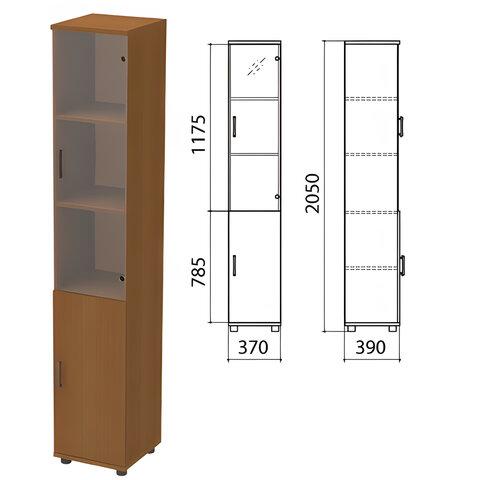 Шкаф закрытый со стеклом «Монолит», 370×390×2050 мм, цвет орех гварнери (КОМПЛЕКТ)
