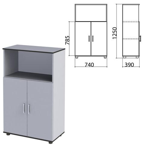 """Шкаф полузакрытый """"Монолит"""", 740х390х1250 мм, цвет серый (КОМПЛЕКТ)"""