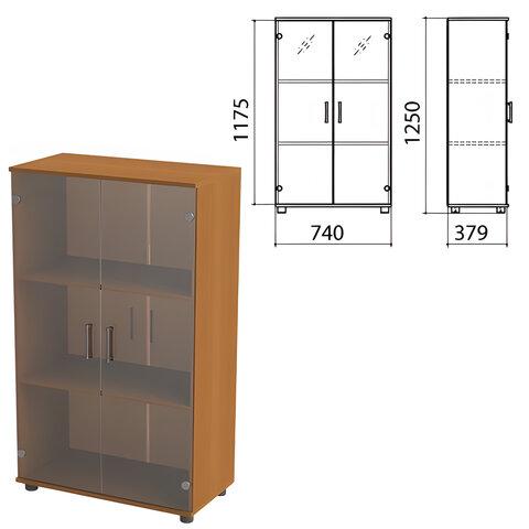 Шкаф закрытый со стеклом «Монолит», 740×390×1250 мм, цвет орех гварнери (КОМПЛЕКТ)