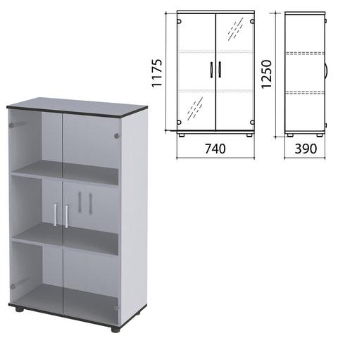 Шкаф закрытый со стеклом «Монолит», 740×390×1250 мм, цвет серый (КОМПЛЕКТ)