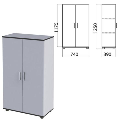 Шкаф закрытый «Монолит», 740×390×1250 мм, цвет серый (КОМПЛЕКТ)