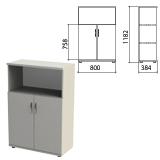 Шкаф полузакрытый «Этюд», 800×384×1182 мм, цвет серый (КОМПЛЕКТ)