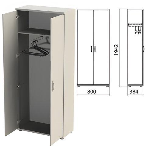 """Шкаф для одежды """"Этюд"""", 800х384х1942 мм, цвет серый (КОМПЛЕКТ)"""