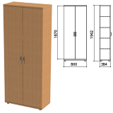 Шкаф закрытый «Этюд», 800×384×1942 мм, цвет бук бавария (КОМПЛЕКТ)