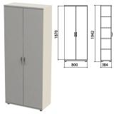Шкаф закрытый «Этюд», 800×384×1942 мм, цвет серый (КОМПЛЕКТ)