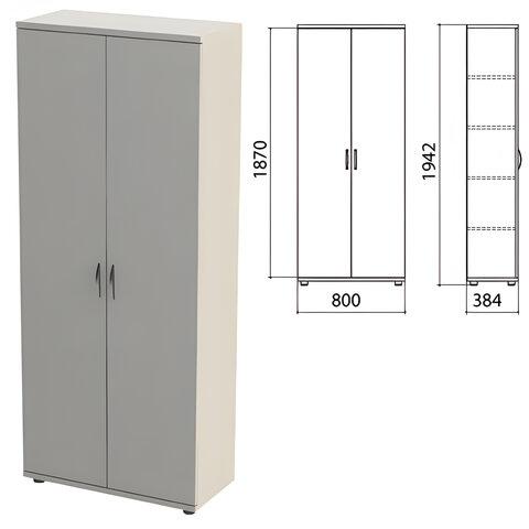"""Шкаф закрытый """"Этюд"""", 800х384х1942 мм, цвет серый (КОМПЛЕКТ)"""