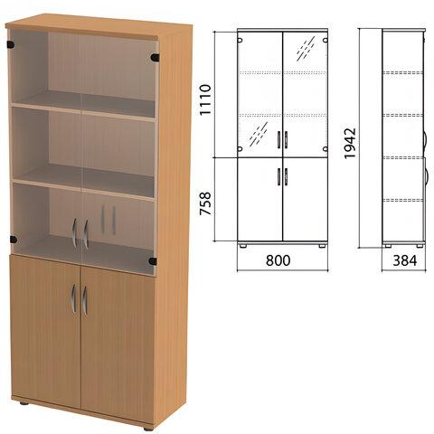 Шкаф закрытый со стеклом «Этюд», 800×384×1942 мм, цвет бук бавария (КОМПЛЕКТ)